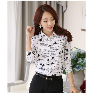 high quality Korean Slim chiffon Blouse printing lapel temperament career Shirt Long sleeve shirt...