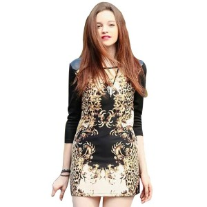 Faux Leather Detail Print Mini Dress With Back Zipper