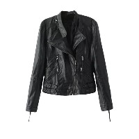 Slant Zipper Long Sleeves Faux Leather Biker Jacket