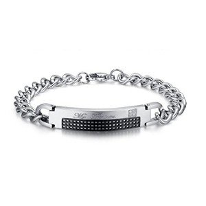 Stainless Steel Zirconia Couple Bracelet Link for Men Valentine Lover Promise Black