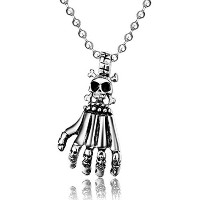 Stainless Steel Biker Punk Style Skull Hand Pendant Necklace for Men Polished Free Chain 24 inches