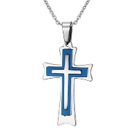 Mens Womens Stainless Steel Threeply Cross Pendant Necklace for Christian Baptism Free Chain Blue...