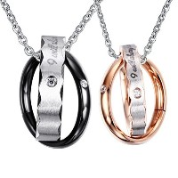 Stainless Steel Interlocked Ring Pendant Necklace Lover Valentine Couple Black Rose Golden Free...