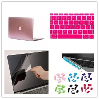 MULBA 4 in 1 Pink Silky-Smooth Touch Metal Hard Case Cover + Keyboard Cover +Screen protection film...