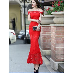Red Maxi Dress Off-the-Shoulder Cut Out Lace Polyester Bodycon Dress