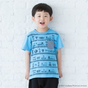 【3can4on(Kids) (サンカンシオン)】きかんしゃトーマス 総柄プリントTシャツキッズ トップス|カットソー・Tシャツ ブルー