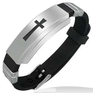 Stainless Steel Black Rubber Silicone Silver-Tone Latin Cross Religious Adjustable Mens Bracelet