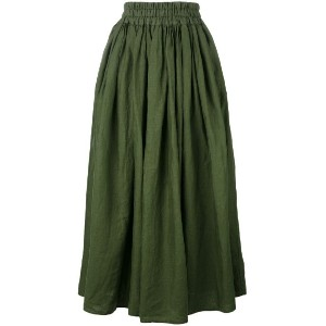 Aspesi - elasticated waistband midi skirt - women - リネン - 42