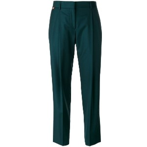 Paul Smith - pleated detail cropped trousers - women - ウール - 46