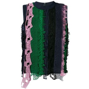 Versace - open embroidery stripe tank top - women - シルク/ポリエチレン/ビスコース - 40