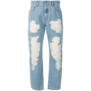 Vivienne Westwood Anglomania - cropped distressed jeans - women - コットン - 26