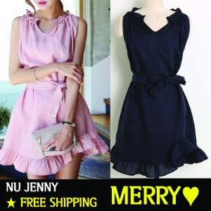 NU JENNY★Free Shipping★Merry★Women Dress/Frill Dress(Ribbon belt set)/MADE IN KOREA/FREE SIZE/mini...