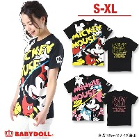 4/5NEW 親子ペア★ディズニー_切替プリントTシャツ-大人 男女兼用 レディース メンズ ベビードール BABYDOLL starvations「DISNEY★Collection」-9251A...