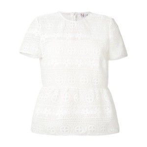 Red Valentino - floral lace T-shirt - women - ポリエステル/ビスコース - 42