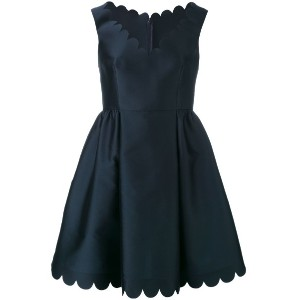 Red Valentino - scalloped detail flared dress - women - シルク/ポリエステル/アセテート - 42