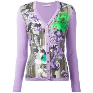 Versace Collection - floral print cardigan - women - シルク/コットン - 40