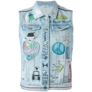 P.A.R.O.S.H. - illustrated denim gilet - women - コットン - S