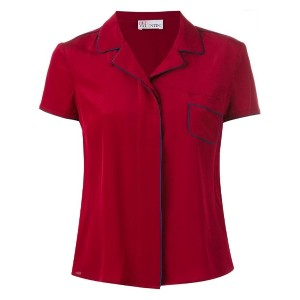 Red Valentino - piped shortsleeved shirt - women - シルク/ポリエステル - 44