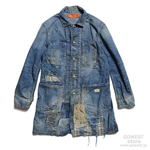 (ゴーウエスト)GOWEST ENGINEER COAT/8oz WORK DENIM/INDIGO FABRIC PATCHED WORK サイズ2(M)