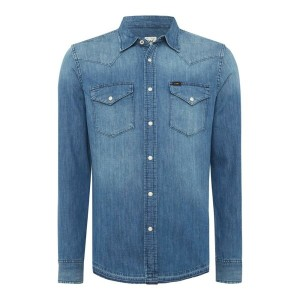 リー メンズ トップス カジュアルシャツ【Lee Light Wash Denim Western Shirt】Denim Light Wash