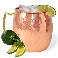 AsiaCraft Hammered Copper Moscow Mule Mug Handmade of 100% Pure Copper, Brass Handle 16 Oz No Inner...