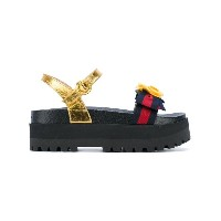 Gucci - floral embroidered sandals - women - レザー/ポリアミド/Foam Rubber - 36.5