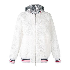 Moncler Gamme Rouge - embroidered hooded jacket - women - シルク/コットン/ポリエステル - 0