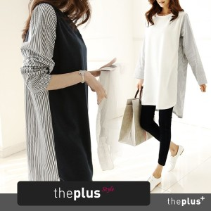 ★theplus★ KOREAN FASHION ★Cotton striped dress / loose fit / Korean fashion