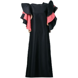 Bintthani - ruffled sleeves dress - women - コットン/Satin Ribbon - S