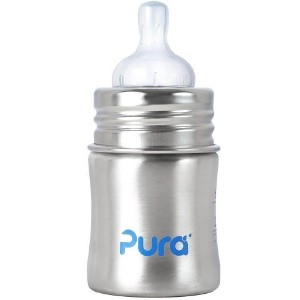 Pura Infant Bottle with Vent Nipple - Natural Stainless - 5 oz ステンレス・哺乳瓶