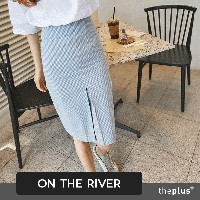 ★ ontheriver ★ waffle check midi skirt / Korean fashion / Spring and Summer /