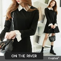 ★ ontheriver ★ Collor and Cuffs point Dress / Flare / Plus size / Frminine / Office Wear / Formal