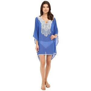 サハ SAHA レディース 水着 ビーチウェア【Freya Kaftan with Crochet in Front and Tassels Cover-Up】Royal Blue