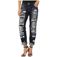 フィリップ プレイン Philipp Plein レディース ボトムス ジーンズ【Dark Wash Boyfriend Cut Distressed Denim in Dark Blue】Dark...