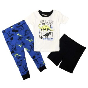 Carter's(カーターズ) ベビー ボーイズ 半袖 光る パジャマ 上下 3点セット (恐竜) Baby Boys' 3-Piece Pajama Set (12M(70))