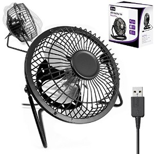 "4"" Retro USB Desk Fan BLACK Aluminium Portable Desk Fan (4インチレトロ調ブラックUSB扇風機)"