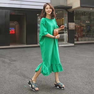送料 0円★PPGIRL_9632 Maca frill long dress / casual long dress / loose fit / ruffle dress / simple