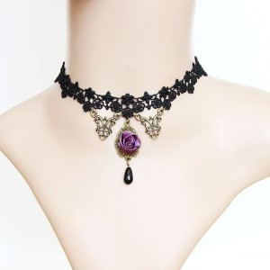 Vintage Gorgerous Lolita Rose Bud Black Lace Choker Necklace AC0243