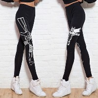 Women s Fashion sexy Black Elastic Cotton Yoga Leggings Machine Gym Fitness Tights Sport Pants (Size