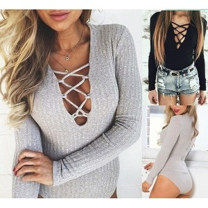 Rompers Women Jumpsuit 2015 Sexy Bodysuit Long Sleeve Gray Cotton Short Jumpsuit High Waist Bandage