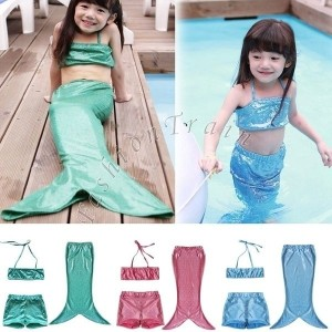 3pcs/suit Girls Kids Mermaid Tail Swimmable Bikini Set Swimwear Swimsuit Swimming Costume