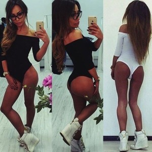 New Women Fashion Sexy Long Sleeve Tops Off Shoulder Jumpsuits Bodysuit Clubwear