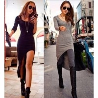 Solid color cotton long-sleeve irregular sweep dovetail one-piece dress fashion bohemia