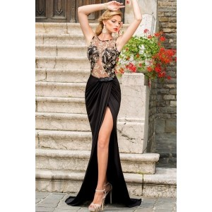 Sexy Black Floor length gown evening dresses Hollow Out Lace Embroidered Mesh Wrap Maxi Dress (One S