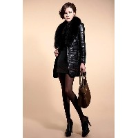 Fashion Women s Long Sleeve Synthetic Leather Fur Collar Coat Jacket Overcoat