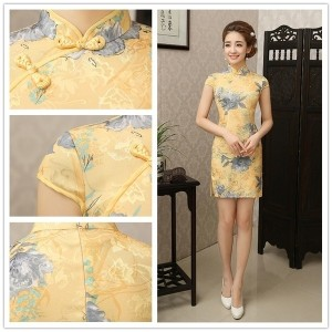 2015 Hot Sale Traditional Chinese Dress Cheongsam Summer Fashion Vintage Summer Short Qipao