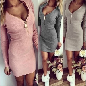 Fashion Women Dress Autumn Winter Bodycon Cocktail Dress Long Sleeve Mini Dress