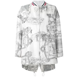 Moncler Gamme Rouge - architecture print bomber jacket - women - シルク/コットン/ポリエステル/ビスコース - 1