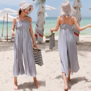 送料 0円★PPGIRL_9675 Pleats jumpsuit / slacks / wide fit / long dress / sleeveless dress /
