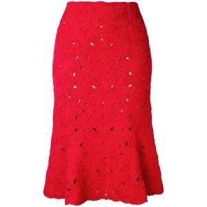 Salvatore Ferragamo - lace embroidery skirt - women - コットン/ポリアミド/ビスコース - S